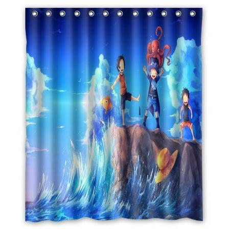 DEYOU One Piece Art Sabo Portgas D Ace Luffy Shower Curtain Polyester Fabric Bathroom