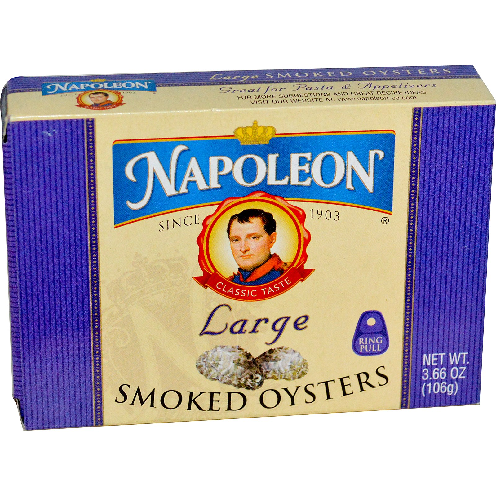 Napoleon Co., Large Smoked Oysters, 3.66 oz (pack of 12) by
