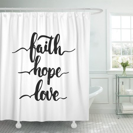 PKNMT Church Lettering Phrase Faith Hope Love The Fun Shower Curtain 60x72 Inches