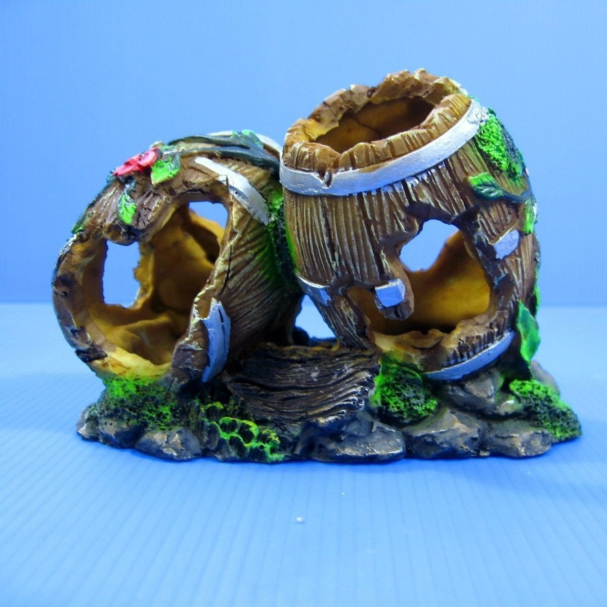 "Double Barrel Aquarium Ornament 5.9""- Decoration Cave By Aquarium Supplies by"
