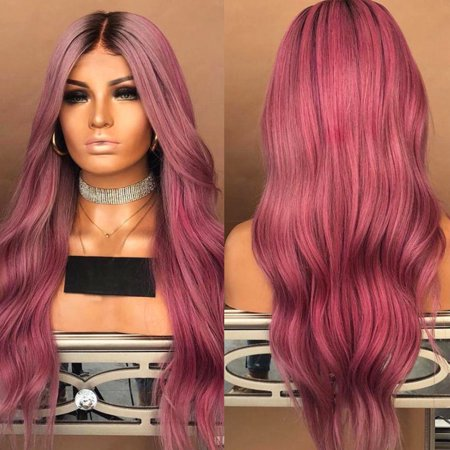 LuckyFine 28'' Synthetic Ombre Hair Lace Front Wig Long Wavy Curly Full Wigs For Women Party Cosplay Costume