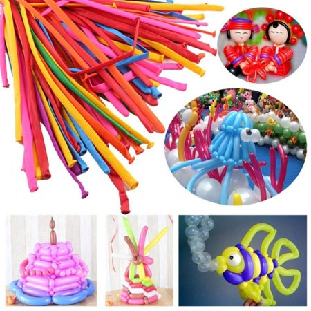 WALFRONT Balloons,200pcs Magic DIY Long Twist Latex Balloons Tying Making Decor Mixed Mix-color - Halloween Balloons Diy