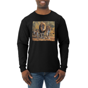 Distressed African Lion Family Desert Animal Lover Mens Long Sleeve Shirt
