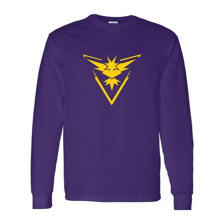 Pokemon Go Gym Team Instinct Yellow Youth Boys Girls Long Sleeve Tee T-Shirt
