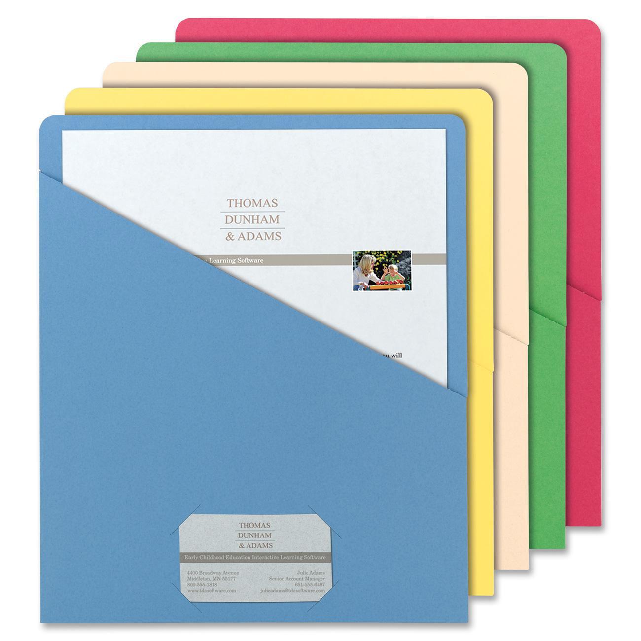 Smead Organized Up® Slash Jacket, Letter Size, Assorted Colors, 25 per Pack (75425)