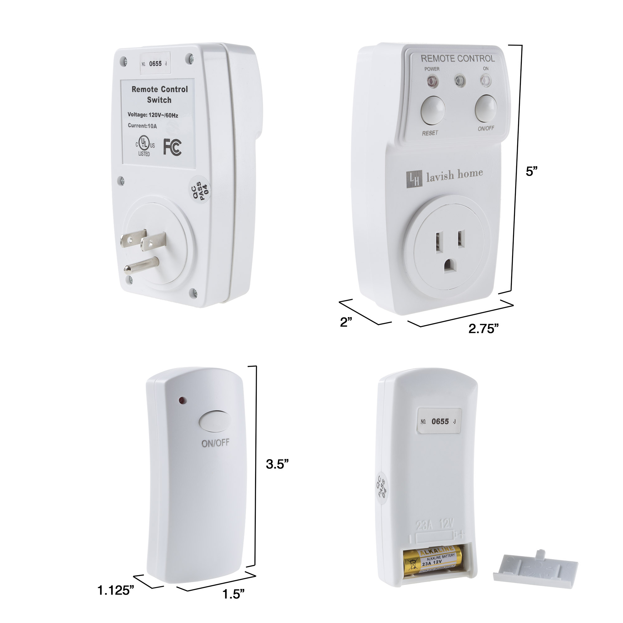 Indoor Wireless Electrical Outlet Plug With Programmable Remote Control For Home Appliances, Lamps, Lighting and Electrical Equipment By Lavish Home
