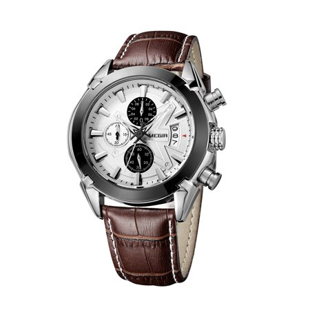 Megir Branded New Fashion Man Watch Genuine Leather Band 3 Small Dials Quartz Wristwatch Analog Display Date Chronograph Black/Brown Relogio Masculino