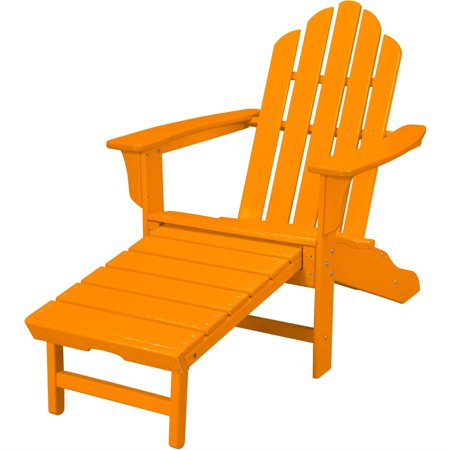 Hanover All-Weather Adirondack Chair w/ Attached Ottoman - Tangerine