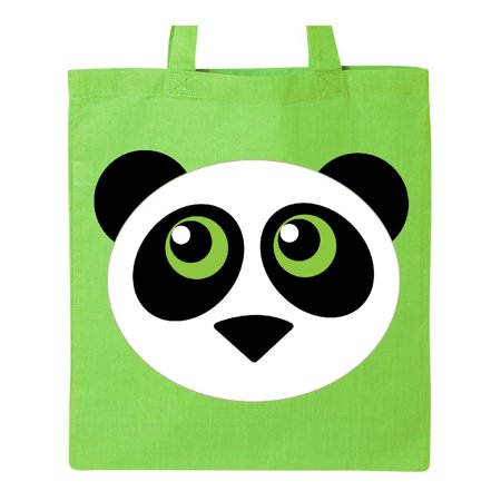 Panda animal face Tote Bag Lime Green One Size