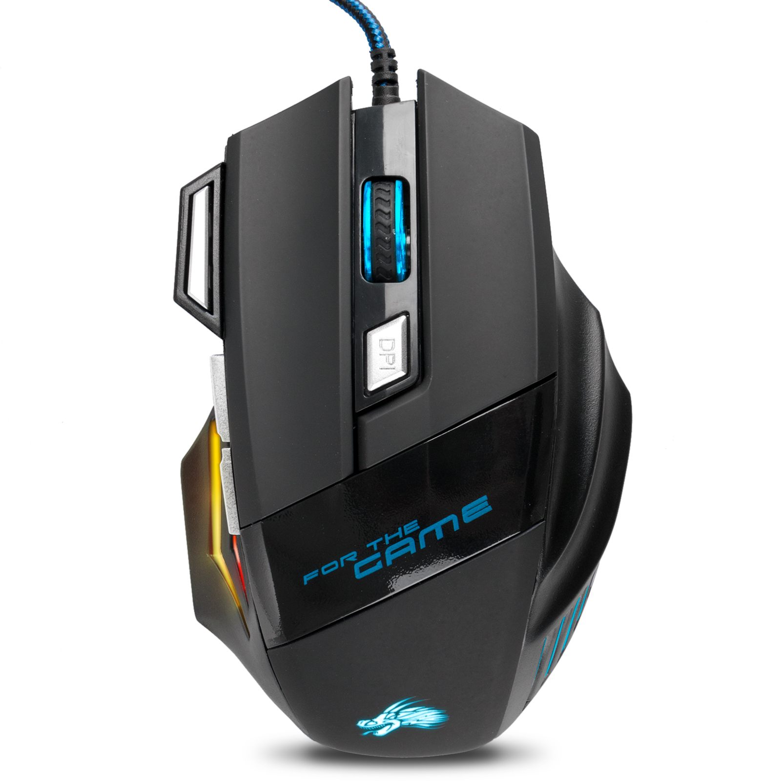 TSV Laser Gaming Mouse Wired with 7 Programable Buttons 5500 DPI 4 Color LED Light, Fire Button High Precision, Used for games and office (black)