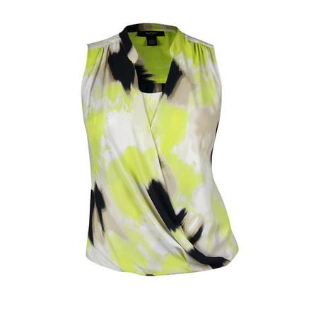 alfani women's tie-dye blast print chiffon surplice blouse (Alumni Clothing)
