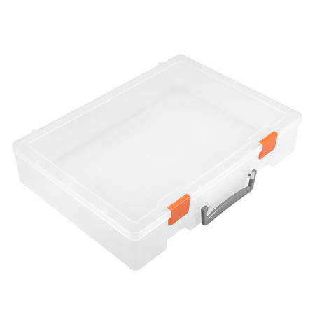 Portable Rectangle Transparent Parts Storage Box Hand-Held No Partition Building Blocks Toy Storage Box Hand Painted Toy Chest