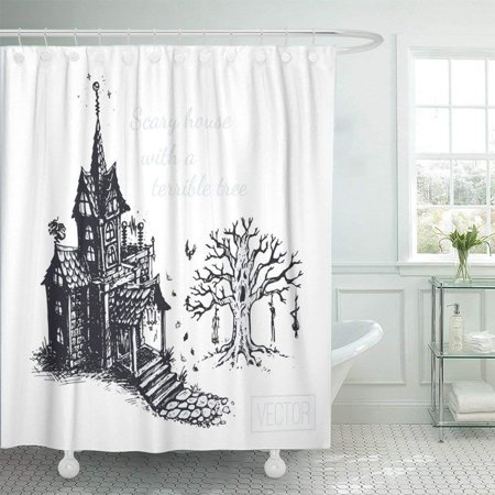 WOPOP Black Autumn the Old Scary House and Tree Sketch Drawn with Ink Vintage Design for Halloween Gray Shower Curtain 66x72 inch](Scary Trees For Halloween)