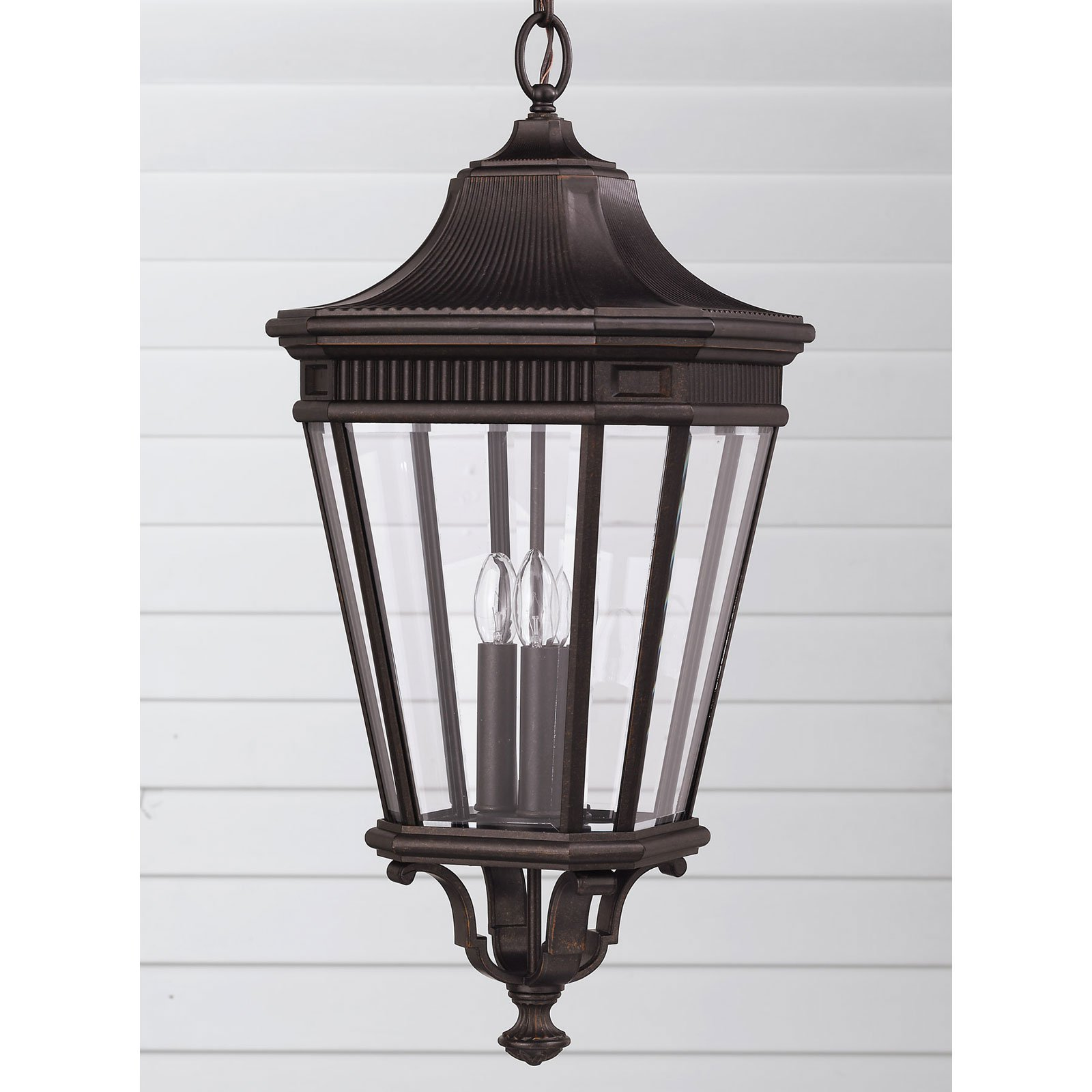 Feiss Cotswold Lane Outdoor Hanging Lantern 26.5H in. Grecian Bronze by Murray Feiss
