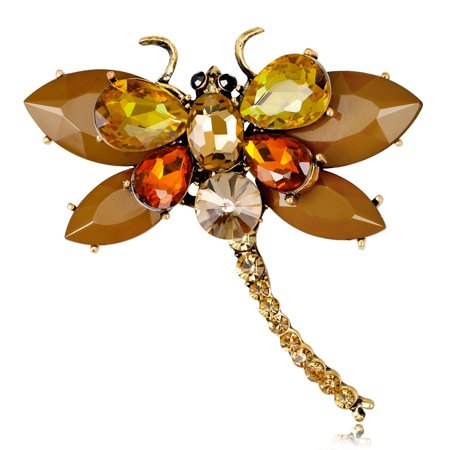 Women Vivid Delicate Dragonfly Design Diamond Brooch Perfect Wear Decoration AL446-B