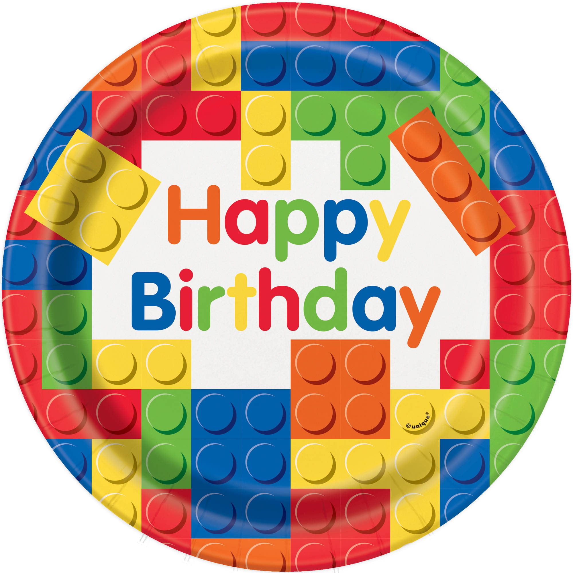 "9"" Building Blocks Party Plates, 8ct"