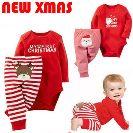 Newborn Baby Girls Boy Christmas Clothes Set Long Sleeve Top Romper Bodysuit+Pants Outfit Kids Clothes - Christmas Outfit Boys