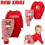 cf5c18d7c5d3 Newborn Baby Girls Boy Christmas Clothes Set Long Sleeve Top Romper  Bodysuit+Pants Outfit Kids
