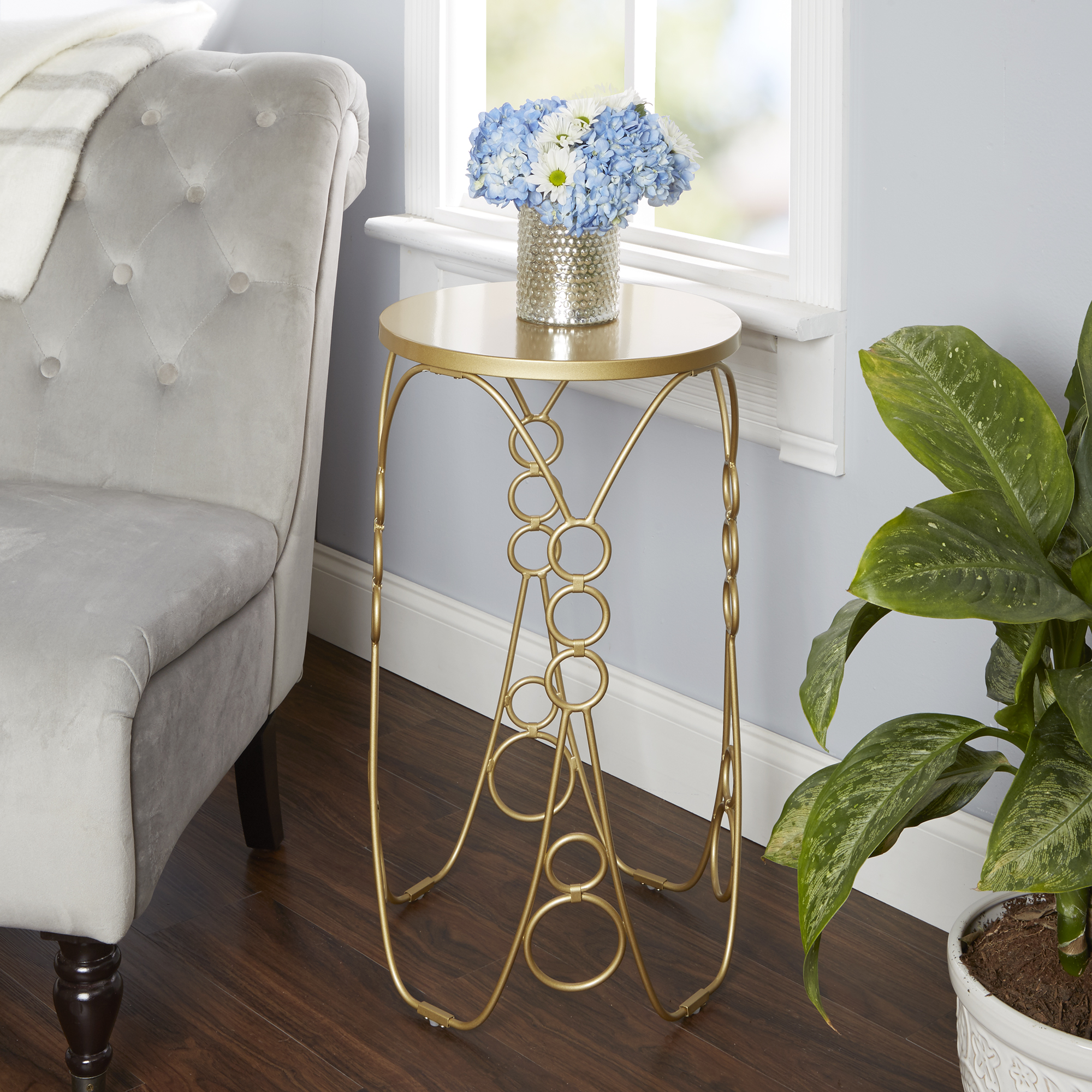 "Silverwood Nora Round Metal Accent Table, Gold, 27""H"