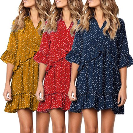 Polka Dot Design Women Short V Neck Womens Dress Polka Dot Design
