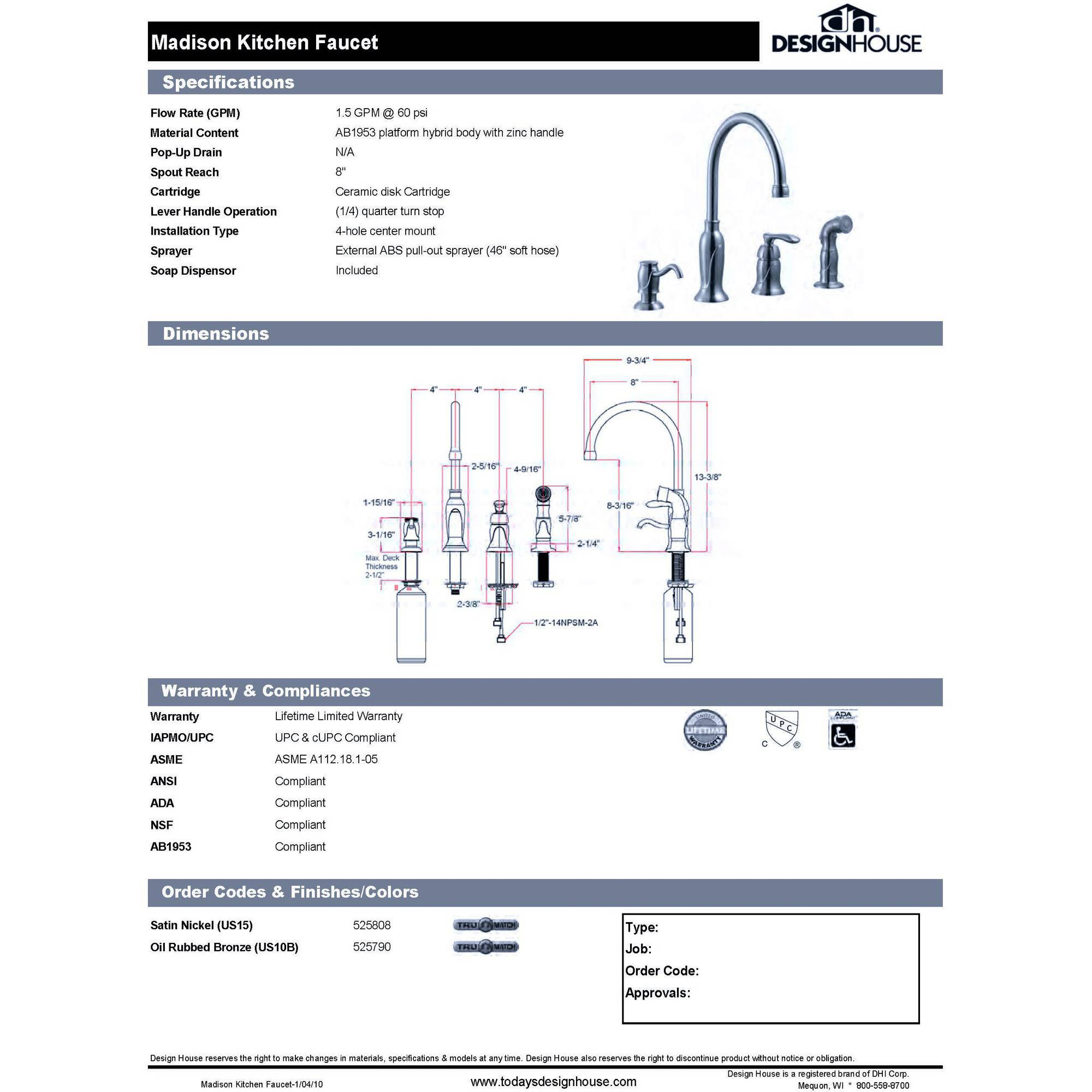 Design House 525790 Madison Kitchen Faucet With Sprayer And Soap Dispenser,  Oil Rubbed Bronze Finish   Walmart.com
