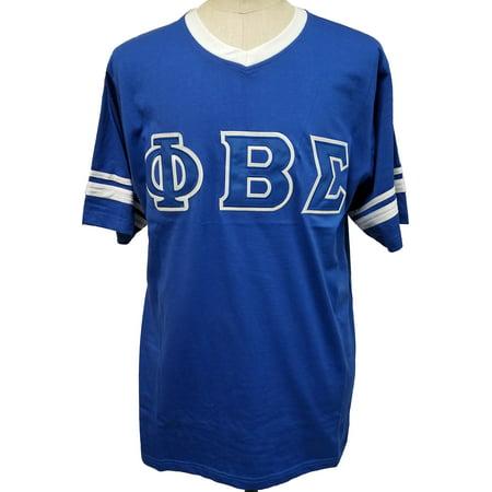 Phi Beta Sigma Striped V Neck Mens Tee  Short Sleeve   Blue   4Xl