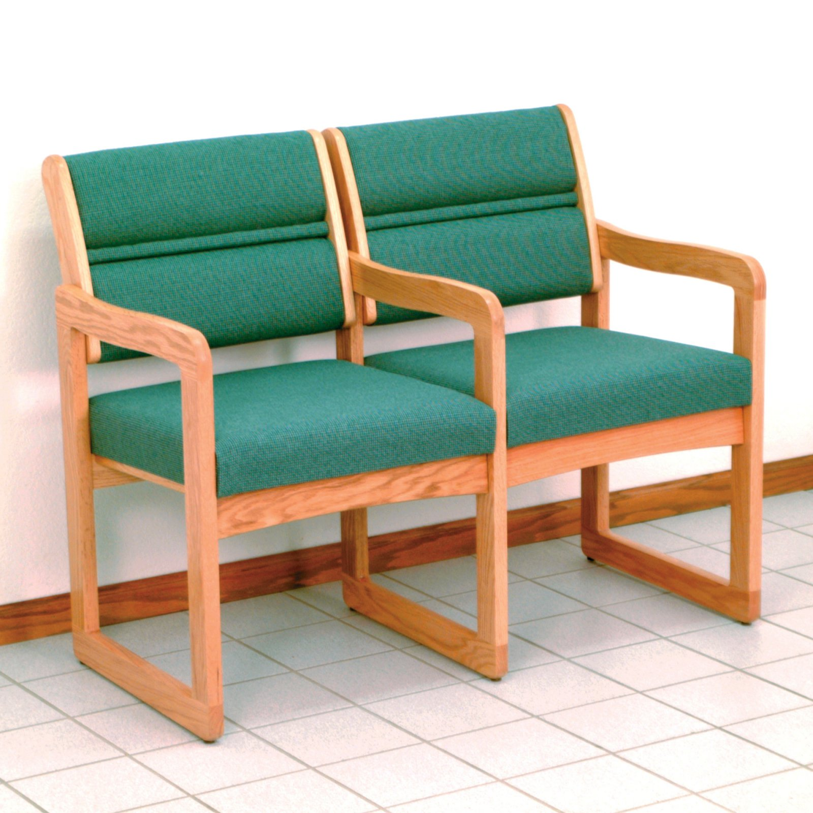 Wooden Mallet DW1-2 Solid Oak 2-Seat Chair with Center Arms