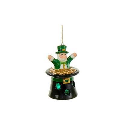 "3.5"" Luck of the Irish Leprechaun in a Top Hat Decorative Christmas Ornament"
