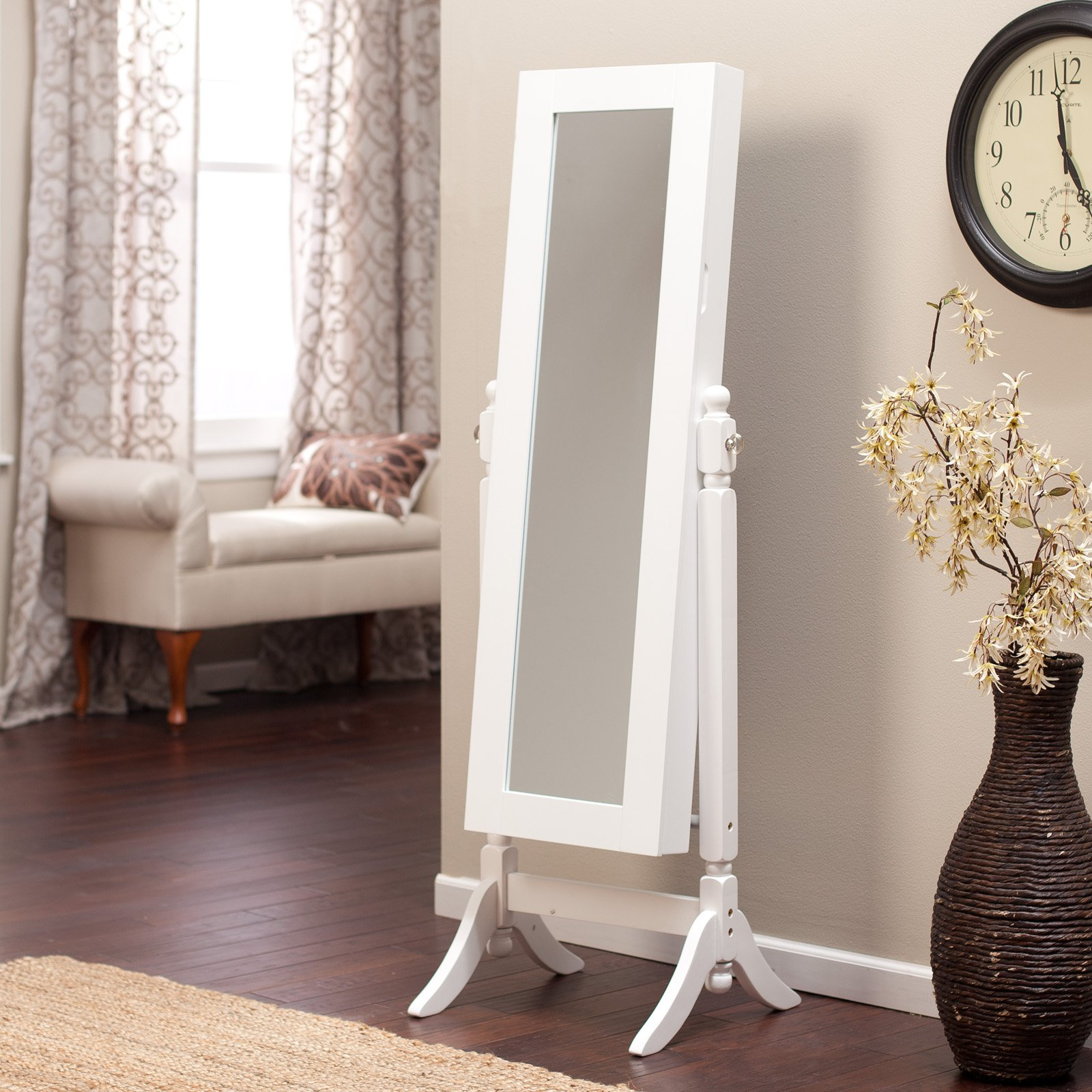 Heritage Jewelry Armoire Cheval Mirror High Gloss White by 4 Seasons Global Inc