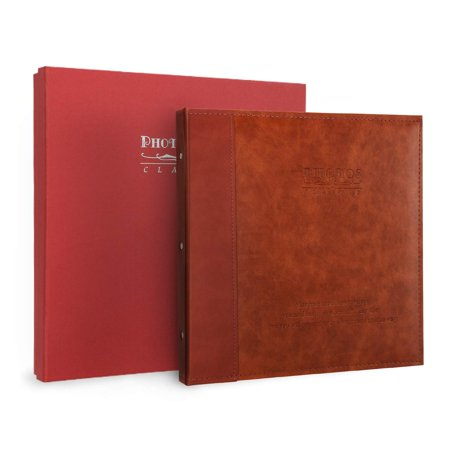 Magicfly Magnetic Self-Adhesive Photo Album, Family Album with Leather Cover fits for 3x5, 4x6, 5x7, 6x8, 8x10 Photos, Red brown (3x5 Photo Album)