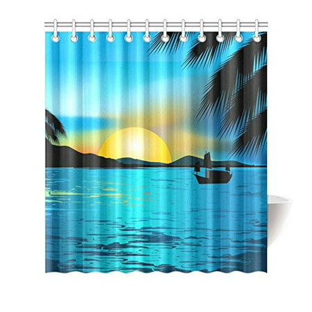 MKHERT Beautiful Sunset Shower Curtain Waterproof Bath Decor 66x72 Inch