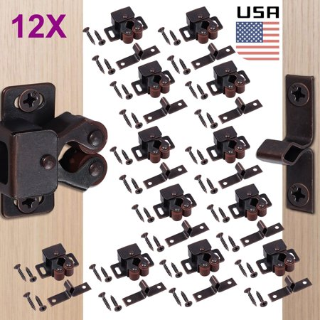 ESYNIC Contractor Pack Roller Catch Oil-Rubbed Copper Finish Heavy Duty Latch for Cabinet Closet Doors, Brown, 12-Pack Standard Duty Roller Cabinet