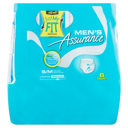Assurance Incontinence Underwear For Men  Maximum  S M  6 Ct