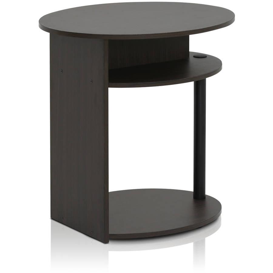 Furinno JAYA Simple Design Oval End Table Walnut Walmartcom