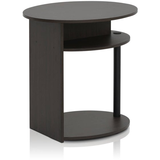 Furinno Jaya Oval Coffee Table: Furinno JAYA Simple Design Oval End Table, Walnut