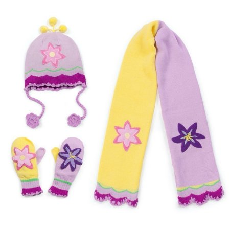 Girls Pink Lotus Hat Scarf Gloves Handmade Winter Set