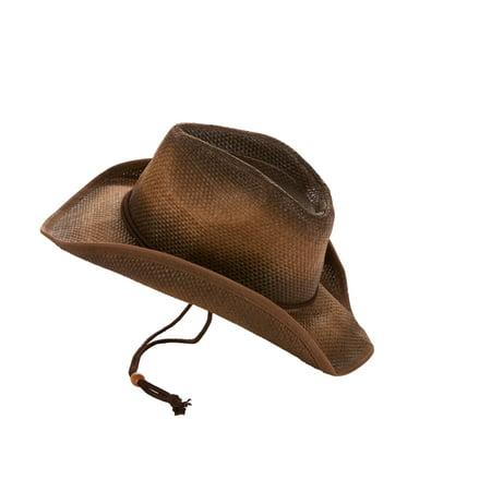 6fafa2aa6 Men's Straw Cowboy Hat with Adjustable Strap