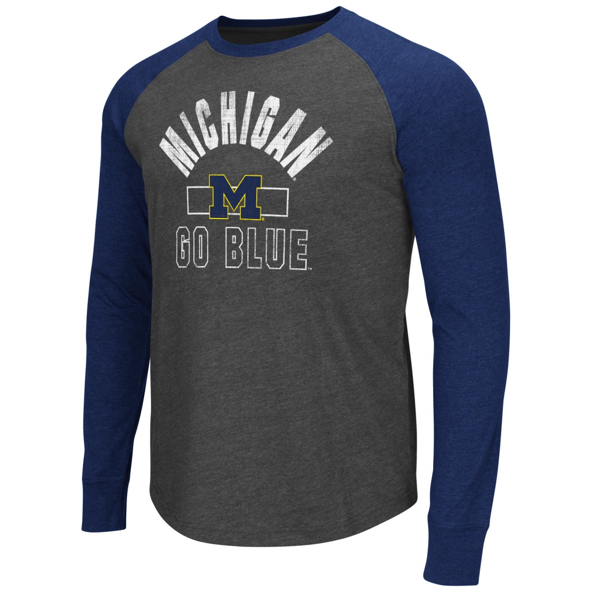 "Michigan Wolverines NCAA ""Hammer"" Long Sleeve Raglan Shirt - Charcoal"