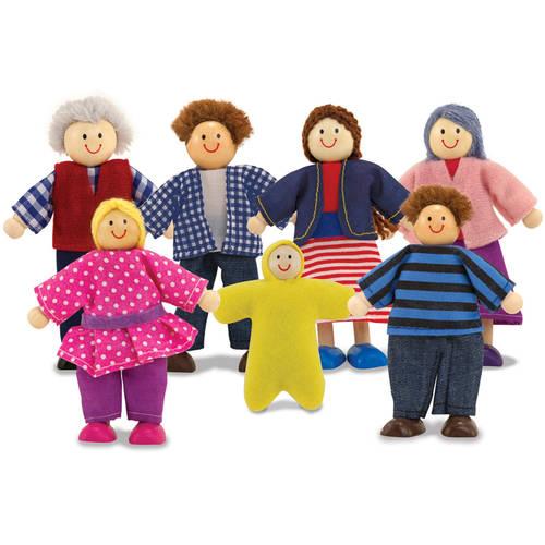 "Melissa & Doug 7-Piece Poseable Wooden Doll Family for Dollhouse, 2-4"" each"