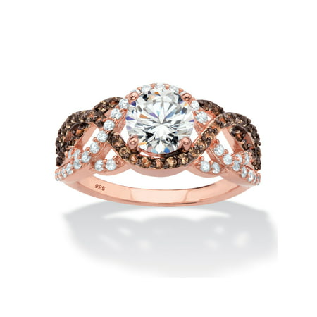 Round Cubic Zirconia and Simulated Smoky Topaz Crossover Halo Ring 2.07 TCW in Rose Gold and Black Ruthenium over Sterling Silver (Smokey Topaz Ring)