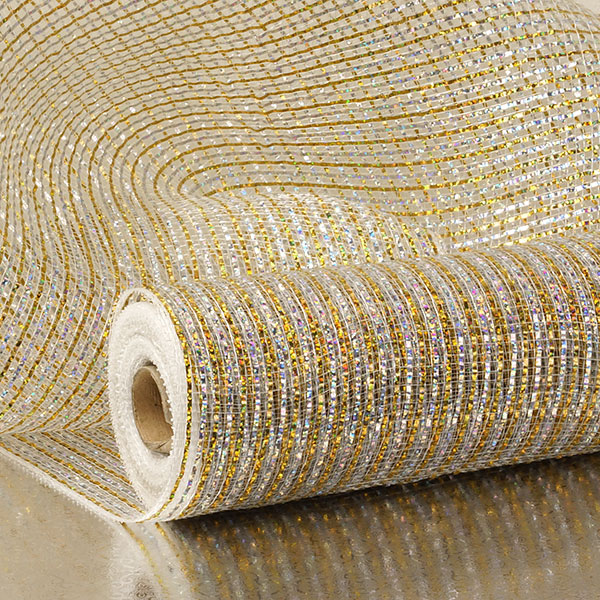 "21"" X 10 Yards Silver/Gld 2-Colored Metallic Deco Mesh by Paper Mart"
