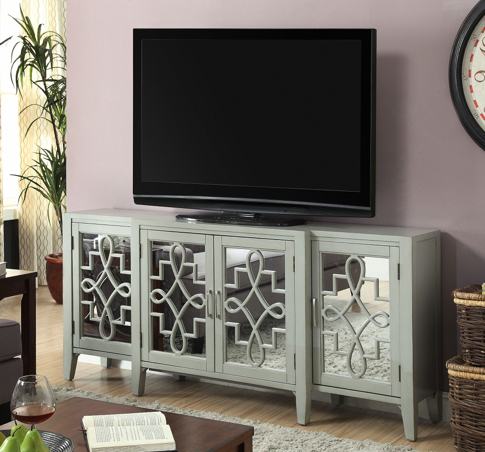 1PerfectChoice Kacia Hallway Living Room Console Sofa Table Tv Stand Mirror Door Antique Gray by 1PerfectChoice