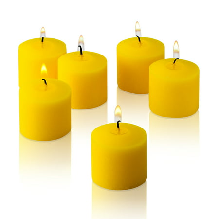 Light In the dark Yellow Unscented Votive Candles Set of 12 Burn 10 Hours