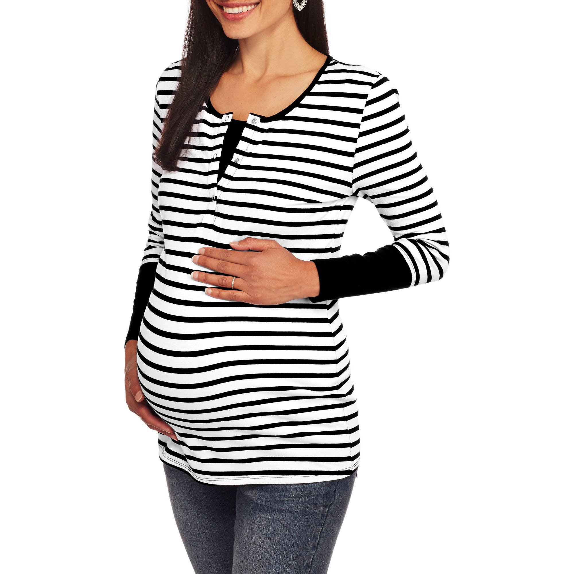 Maternity Long Sleeve Striped Henley 2fer--Hidden Nursing Feature