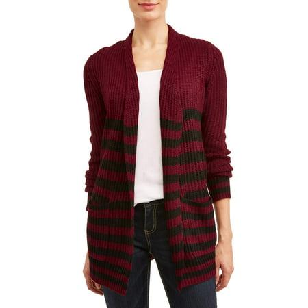 Women's Striped Open Front Cardigan
