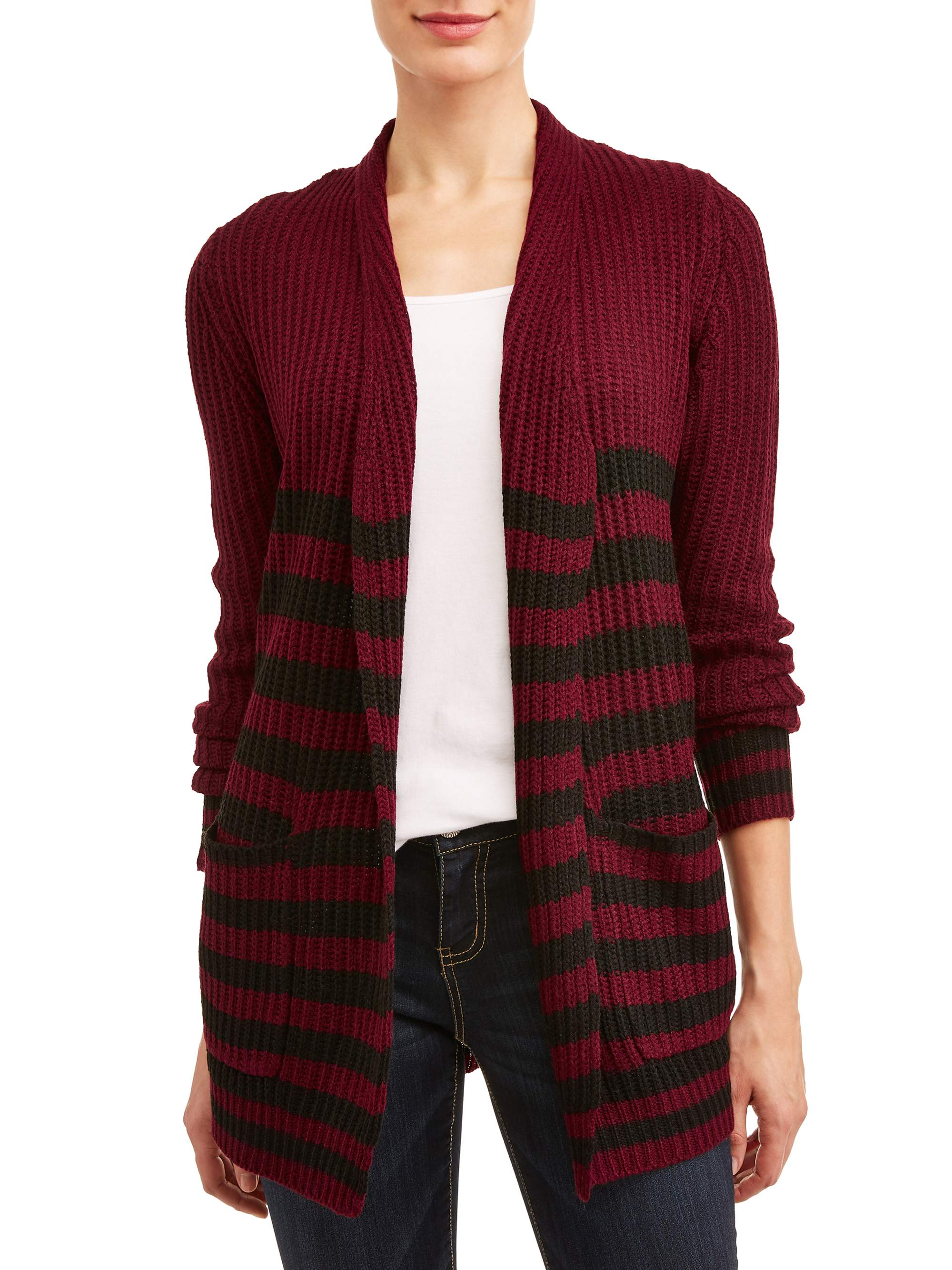 Women's Striped Open Front Cardigan