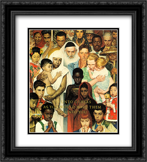 Norman Rockwell 2x Matted 20x22 Black Ornate Framed Art Print 'Do Unto Others'