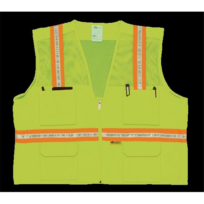 2W 8048-M XXL Multi-Pocket Surveyor Vest - Lime, XX-Large