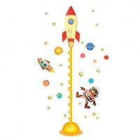 Fancyleo Kids Baby Planets Space Rocket Height Chart Measure Home Wall Sticker Room Decor