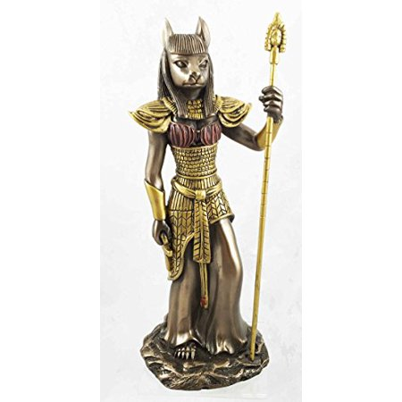 Ancient Egyptian Theme Feline Goddess Bastet Ubasti Cat Human Form Figurine Faux Bronze